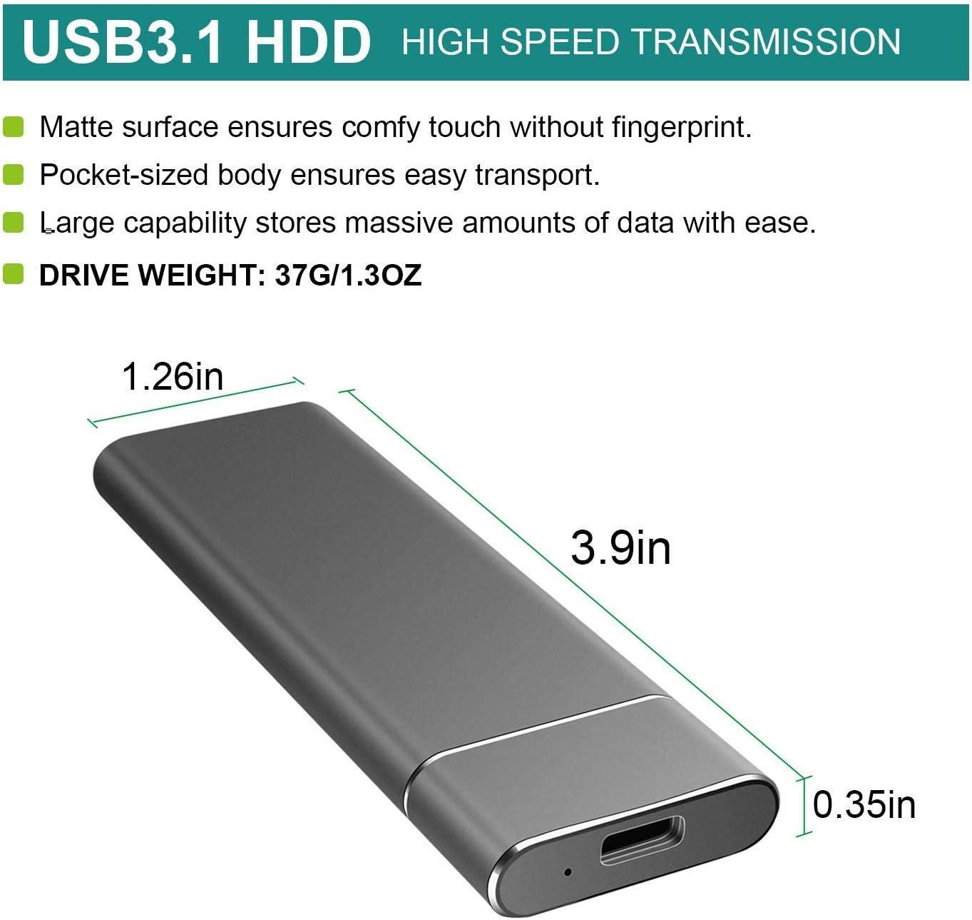 2TB, Blue Mac Xbox One Apple Windows DETAMM External Hard Drive Portable Ultra Slim Type C USB 3.1 Hard Drive for PC