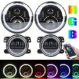 4 inch round hid fog lights - 7 inch RGB Headlights,7