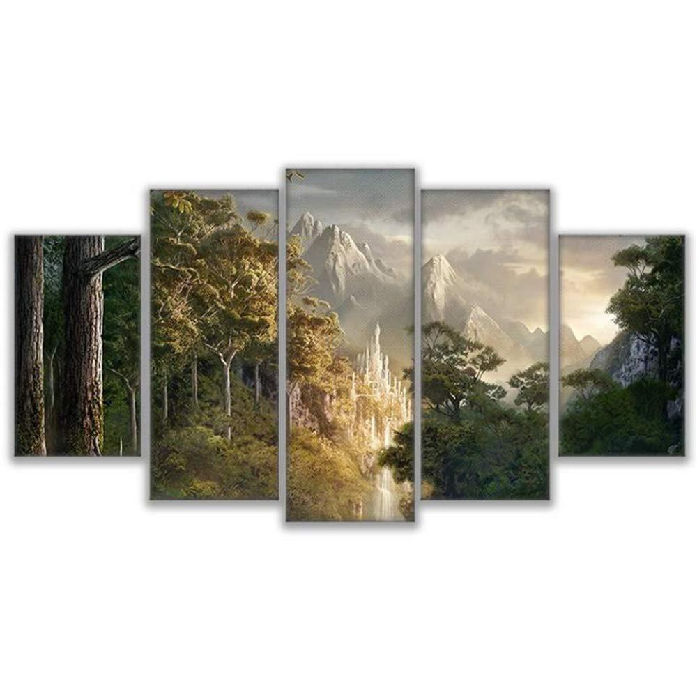 QinddooLeinwandbilder Wall Art Prints Rahmen 5 Stück Burg In Den Bergen Bilder Herr Der Ringe Poster Wohnzimmer Decor-Large mit Rahmen