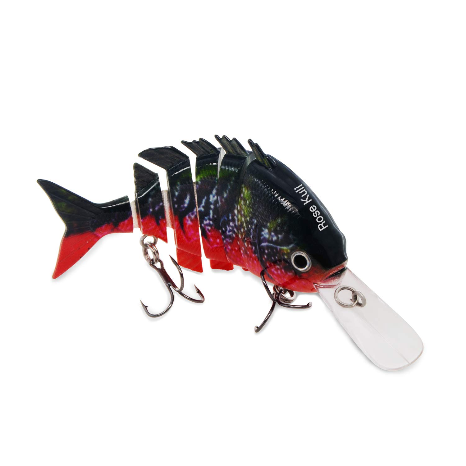 ROSE KULI Bass Fishing Baits Topwater Multi Jointed Lures Hard Life-Like Trout CrankBaits Red by ROSE KULI