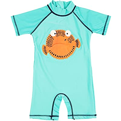 Baby Kids Boys One Pieces Cartoon Cute Animal Print Short Sleeve Sun Protection Swimwear Swimsuit UV Rash Guard