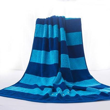 Wddwarmhome Toallas de baño rayadas azules Toallas de algodón absorbentes Parasitas de hombre y mujeres toallas