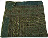 Indian King Size Traditional Home Deco Kantha Ajrakh Quilt, Handmade Kantha Print Ajrakh Throw Blanket