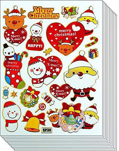 - Jazzstick 110 Glitter Merry Christmas Santa Claus Snowman Decorative Sticker 09A9