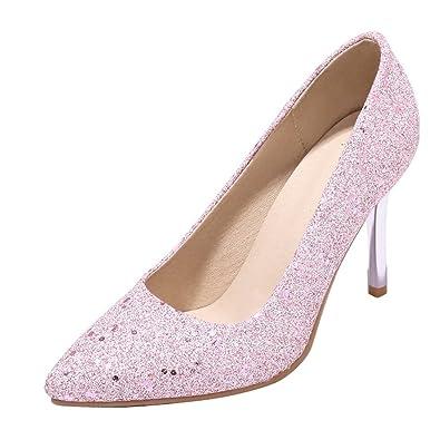 YE Damen Kitten Heels Glitzer Spitze Pumps mit Pailetten Hochzeit Party Elegant Schuhe
