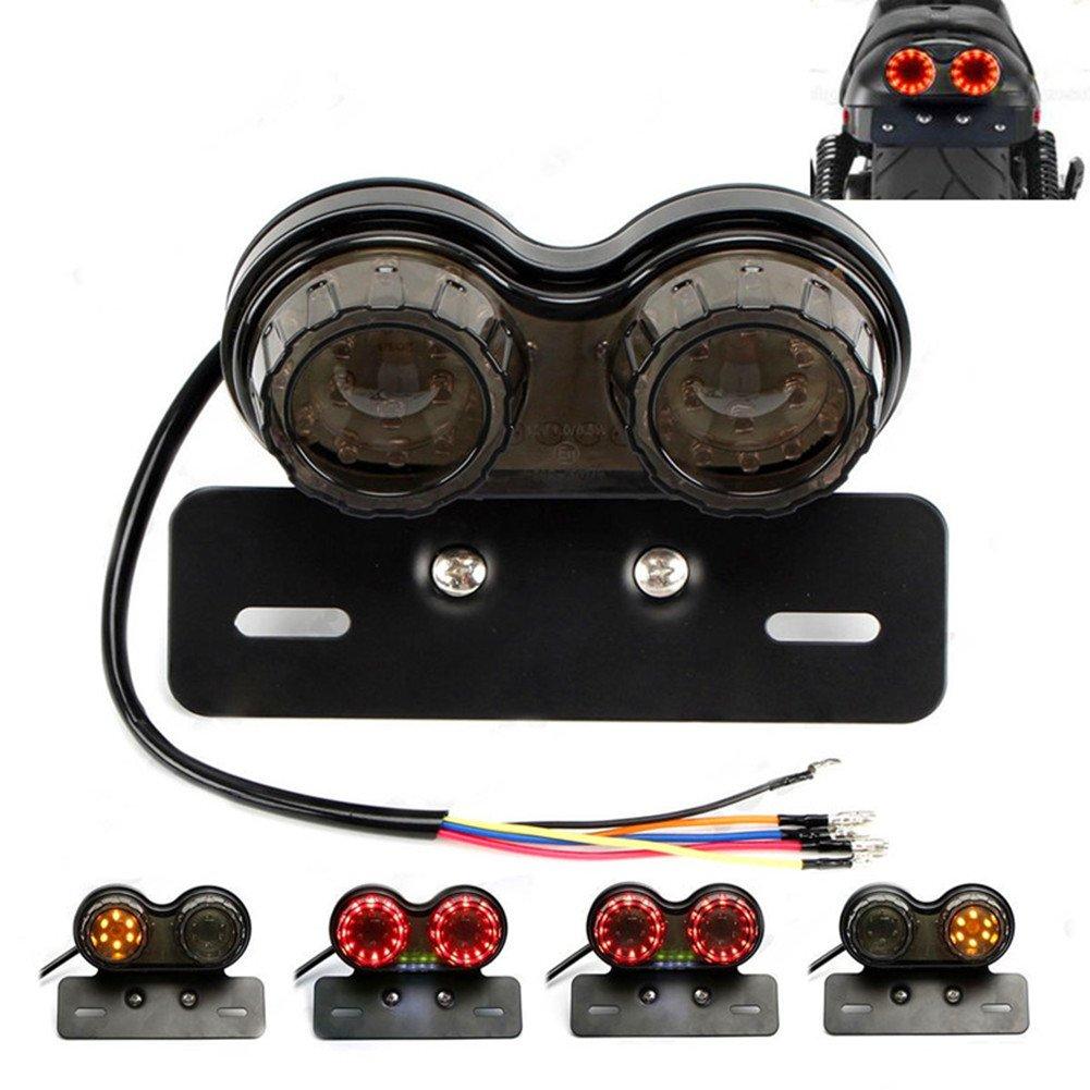 Moto LED ROUGE Feux Arri/ère de Feu Stop Dimmatriculation Lampe Universel Modifi/é R/étro