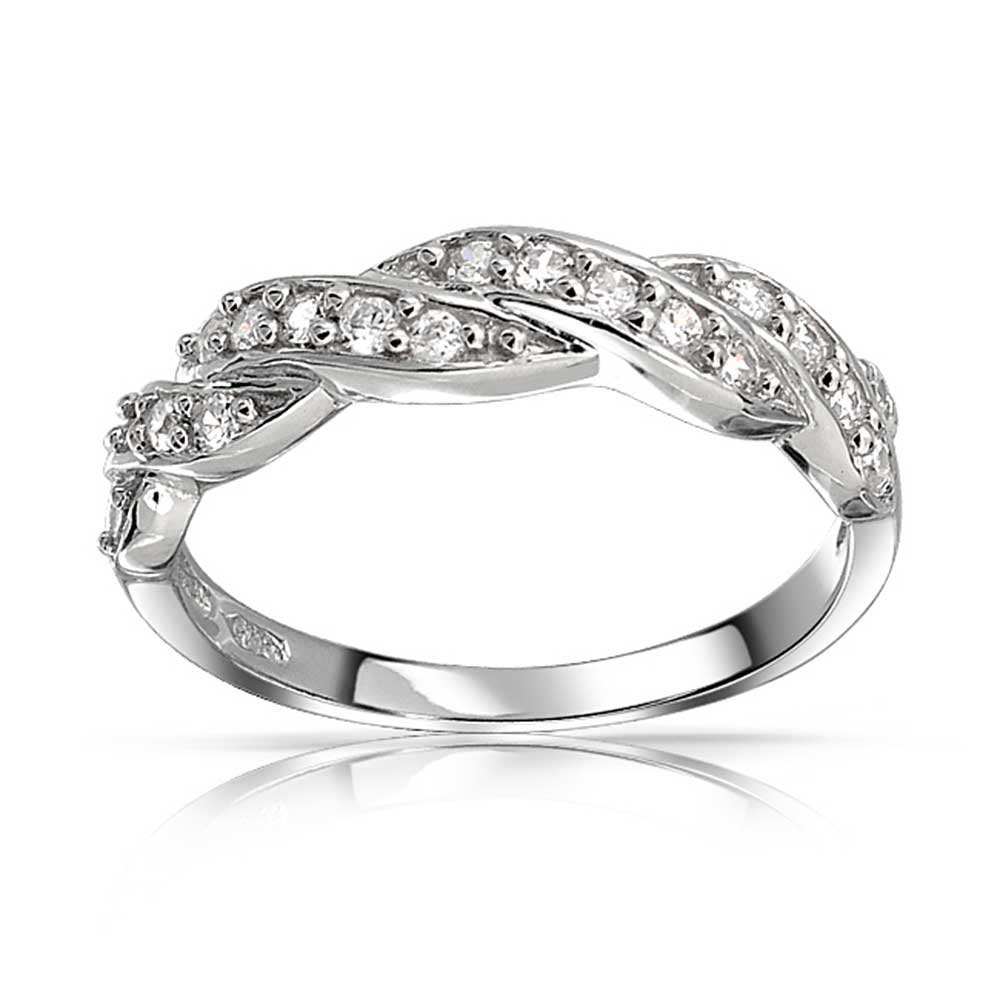 Micro Pave Cubic Zirconia AAA CZ Stackable Twisted Braid Infinity  Anniversary Wedding Band Ring 925 Sterling Silver 3MM