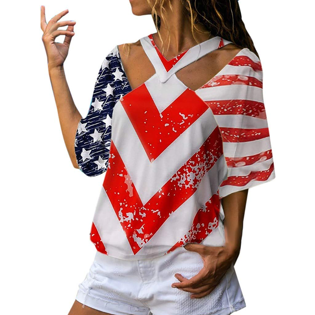 Short Sleeve Tee Blouse for Women,Amiley Womens American USA Flag Stars Stripes Short Sleeve Top Printed Cut Out V-Neck Shirt (X-Large, Red)