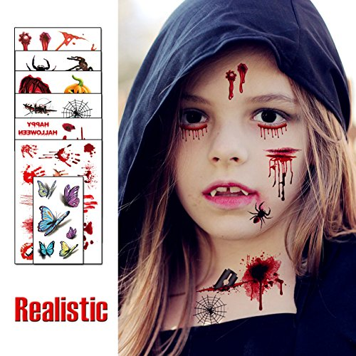 Easy Vampire Makeup (Temporary Tattoos for Kids - Scary Bloody Makeup Prank Kits, Simulate Body Wound Spider Stickers, Vampire Zombie Cosplay Medical Nurse Birthday Party Present April Fools Day Horror Toys)