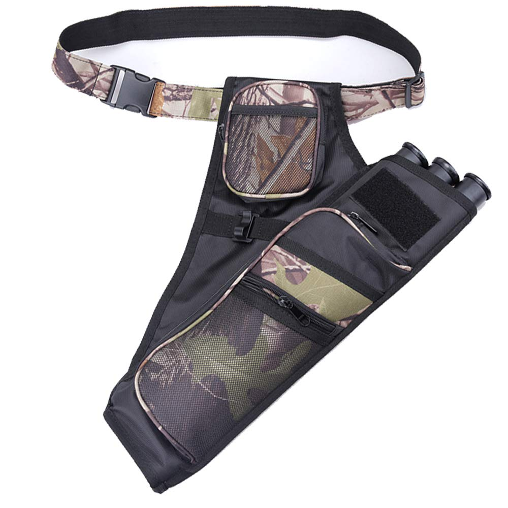 XTACER 3 Tube Hip Quiver Hunting Training Camo Archery Arrow Quiver Holder Bow Belt Waist Hanged Target Quiver (Camouflage - 3 Tube)