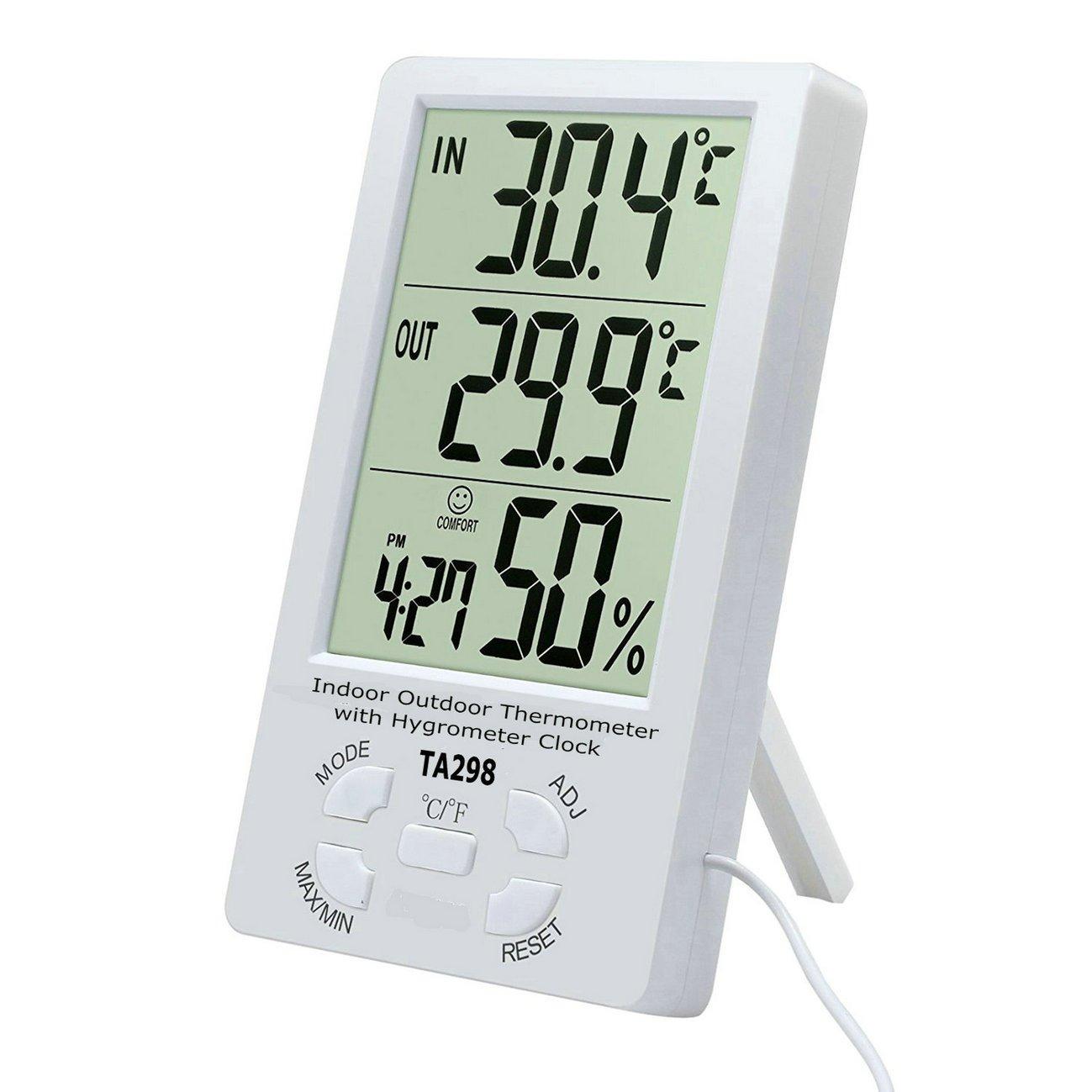 GuDoQi Digital LCD Termómetro Exterior De Interior Con Sensor De Reloj Higrómetro Min/Max Cable Del Sensor: Amazon.es: Hogar