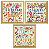 Design Works - Inspirational Counted Cross Stitch - 3 Kits: Braver, Smarter, Stronger, Each 10 by 10 inches with 3 Gift Cards