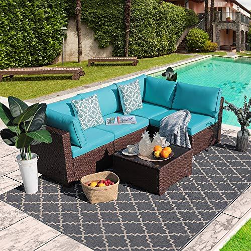 Outdoor Rattan Sofa Set Couch 5pcs Wicker Patio Furniture Set Garden Conversation Set, Brown & Turquoise Cushion (Furniture Lounge Outdoor Rattan)