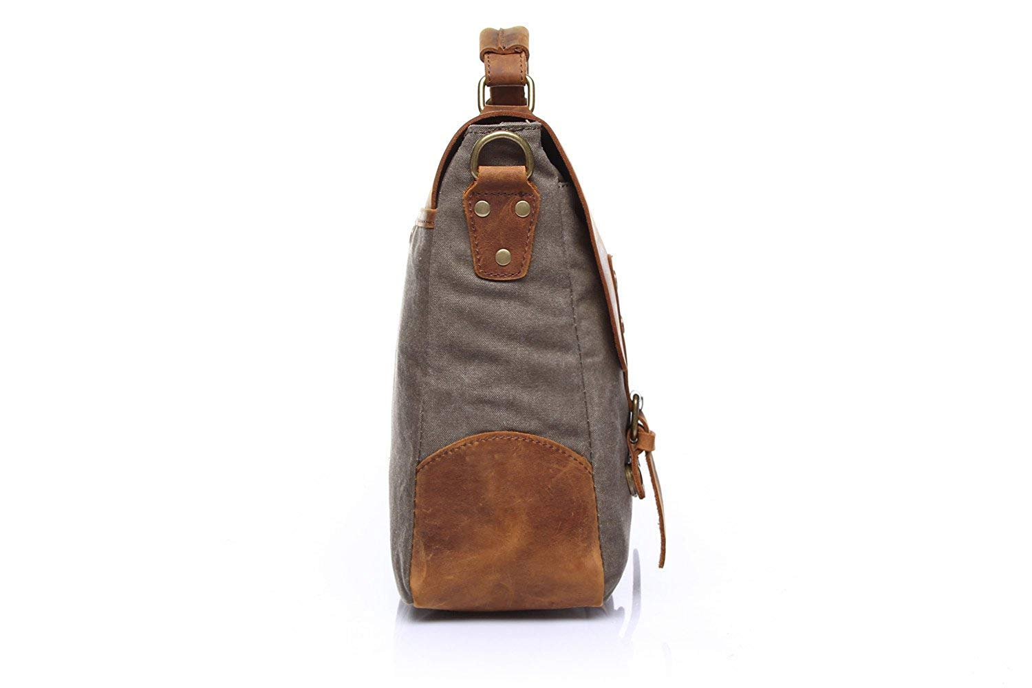 Color : Gray, Size : Medium WHXYAA Mens Messenger Bag Official Document Canvas Bag Computer Shoulder Bag Retro with Crazy Horse Skin