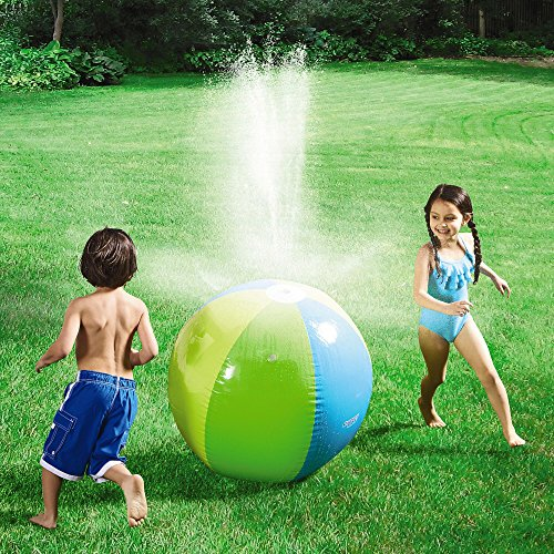 Fstop Labs Rainbow Inflatable 30'' Beach Ball Sprinkler Rain Machine Outdoor Sprinkler Water Toy by Fstop Labs