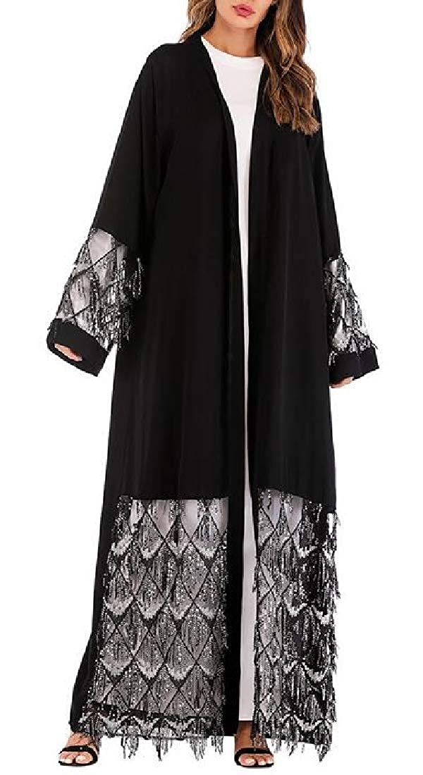 Fubotevic Womens Mesh Muslim Patchwork Long Sleeve Loose Fit Cardigan Robes Maxi Dress