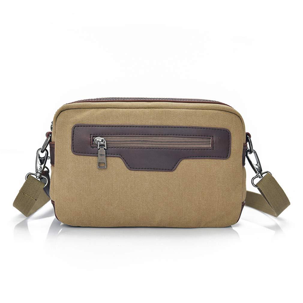 Fashion Canvas Men Messenger Bags Small Vintage Patchwork Leather Crossbody Bags For Men Male Casual Shoulder Sling Bag Men 1369 Khaki W25H7D16CM
