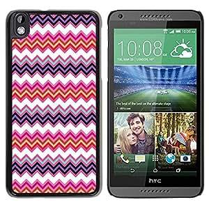Paccase / SLIM PC / Aliminium Casa Carcasa Funda Case Cover para - Pattern Sew Pink Positive Zig Zag - HTC DESIRE 816