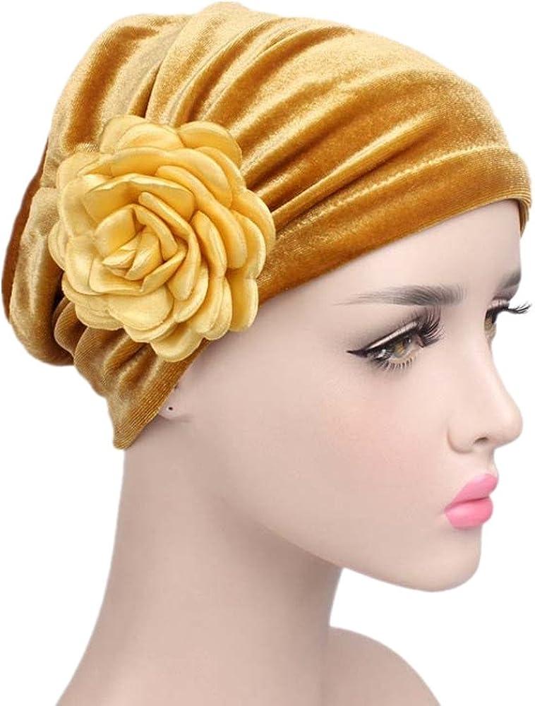 Solid Color Clean Plain Twist Pleasted Floral India Hat,Ruffle Cancer Chemo Beanie Turban,Long Hair Head Wrap Cap