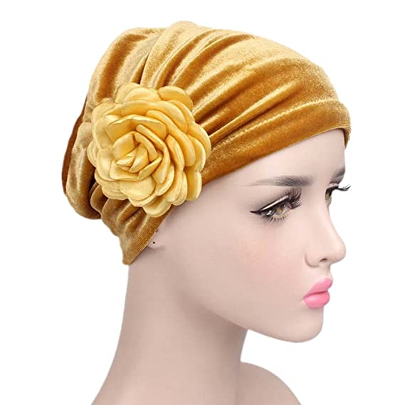 1930s Style Hats | Buy 30s Ladies Hats beauty YFJH Ruffle Flower Chemo Turban Headband Scarf Beanie Hat Head Wrap Cap For Cancer $10.99 AT vintagedancer.com
