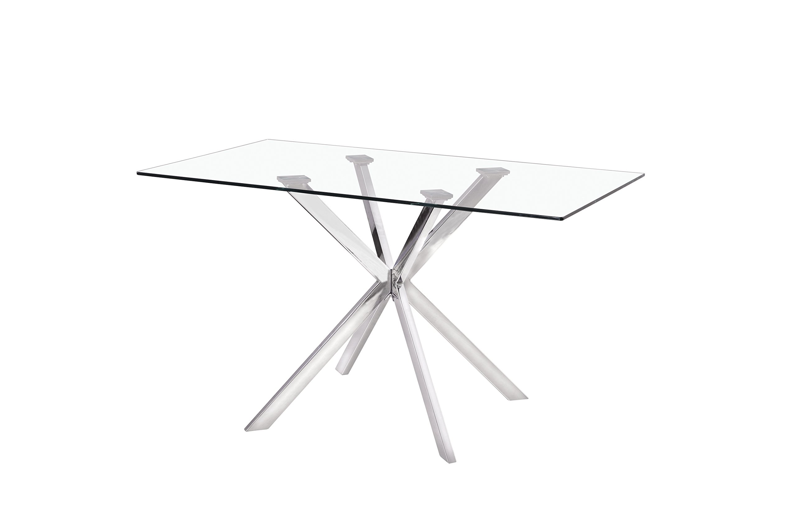 Uptown Club Linus Collection Rectangle Modern Exquisite Chrome Frame Glass Top Dining room Table, 51.2'' L x 31.5'' W x 29.5'' H