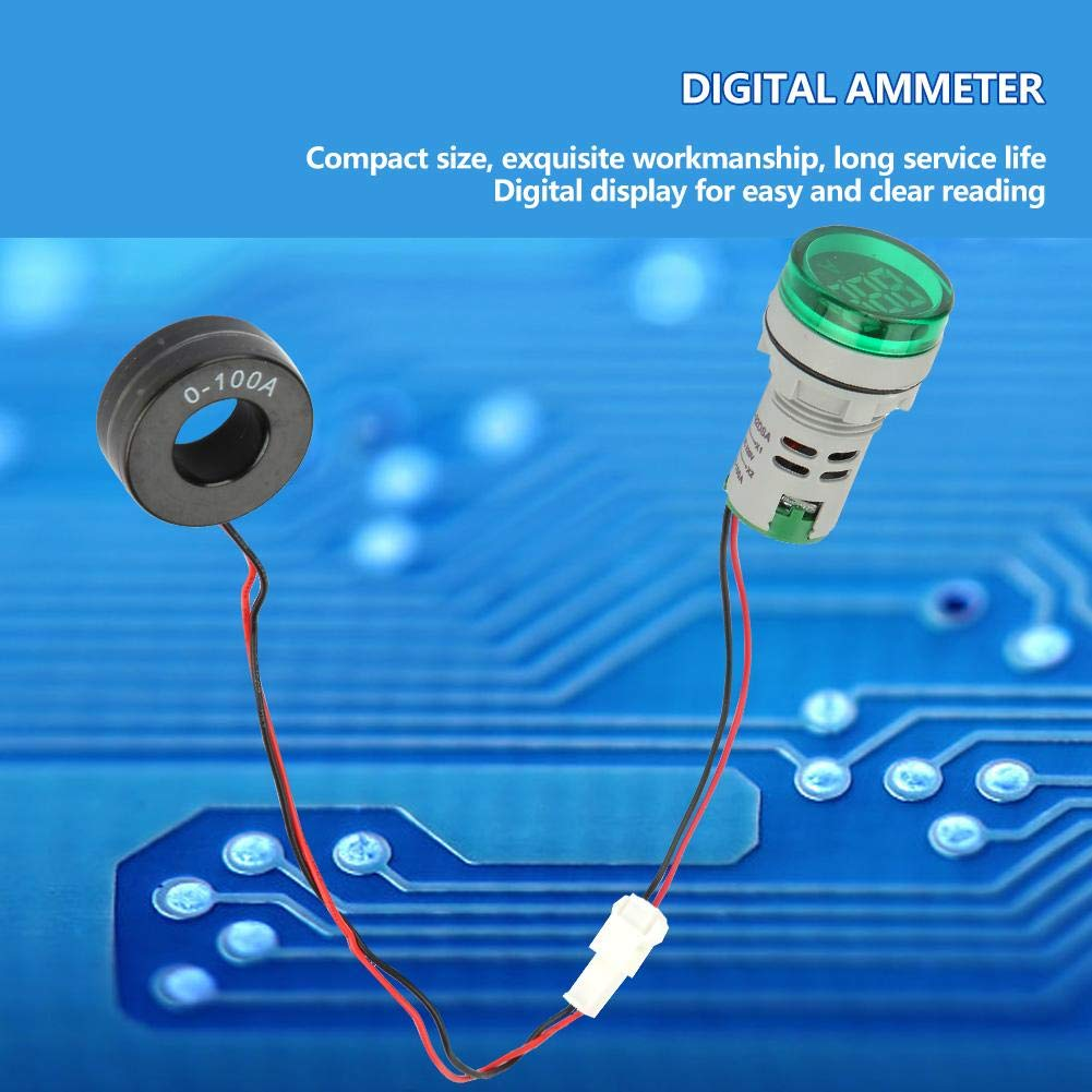 Digital Ammeter Green 0-100A Digital Ammeter AC Current Meter Indicator LED Round Lamp Light Signal