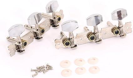 Musiclily 3+3 Clavijas de Afinación Clavijero de Repuesto para Guitarra Acústica, Boton Metal Niquel: Amazon.es: Instrumentos musicales