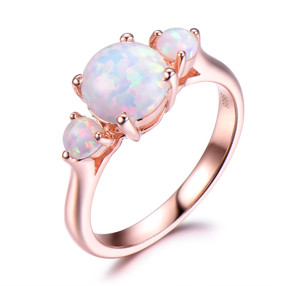 Opal Engagement Ring 7mm Round Cut 925 Sterling Silver Rose Gold Plated Cluster Stones Women Gift