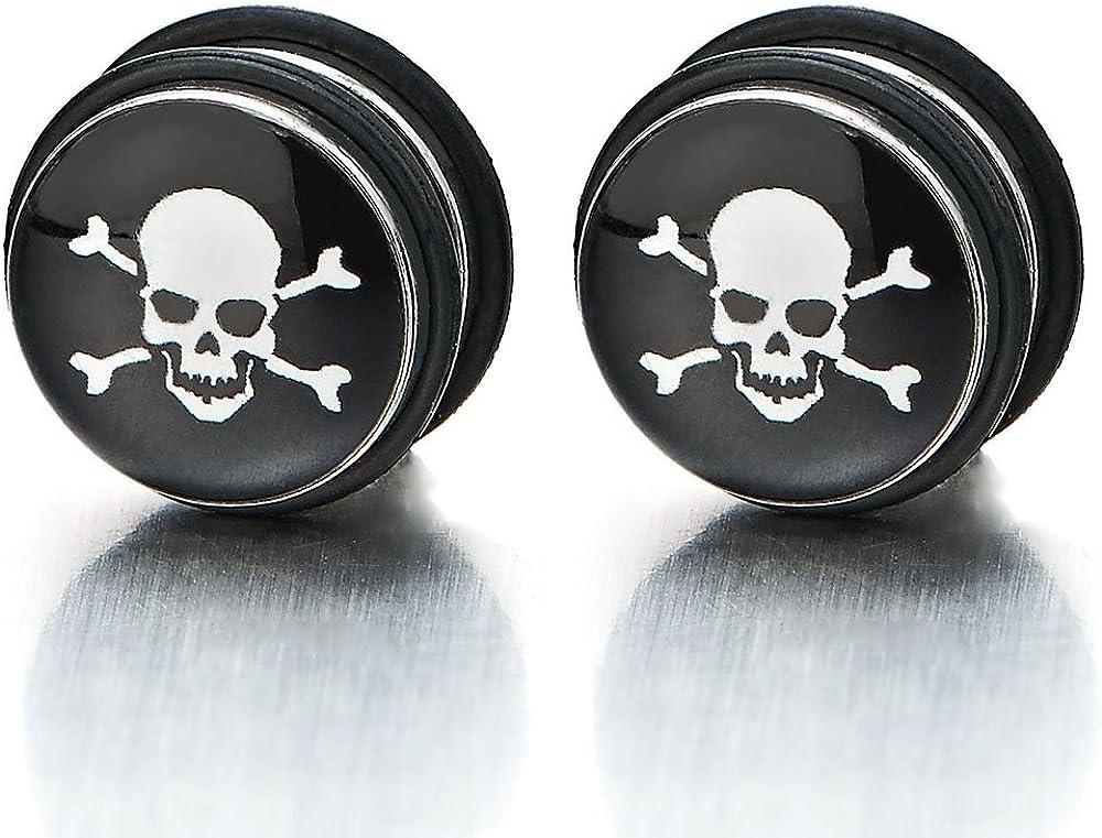 2pcs 11MM Magnetic Black Circle Skull Stud Earrings for Men, Non-Piercing Clip On Fake Ear Plugs