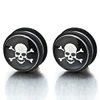 2pcs 11MM Magnetic Black Circle Skull Stud Earrings for Men Boys, Non-Piercing Clip On Fake Ear Plugs