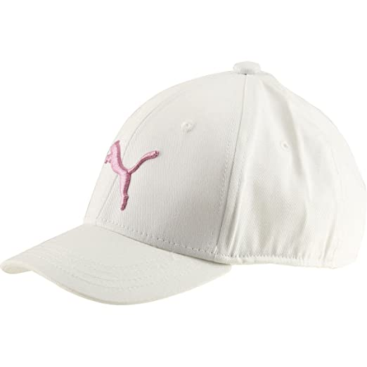 22a1eba52be PUMA Girl s Youth Evercat Anthem Stretch Fit White Pink Baseball Cap Hat