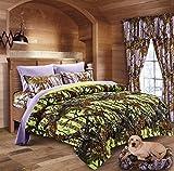 20 Lakes Neon Green Lime & Lavender Camo Comforter, Sheet, Pillowcase Set (Full, Neon Green - Lavender)
