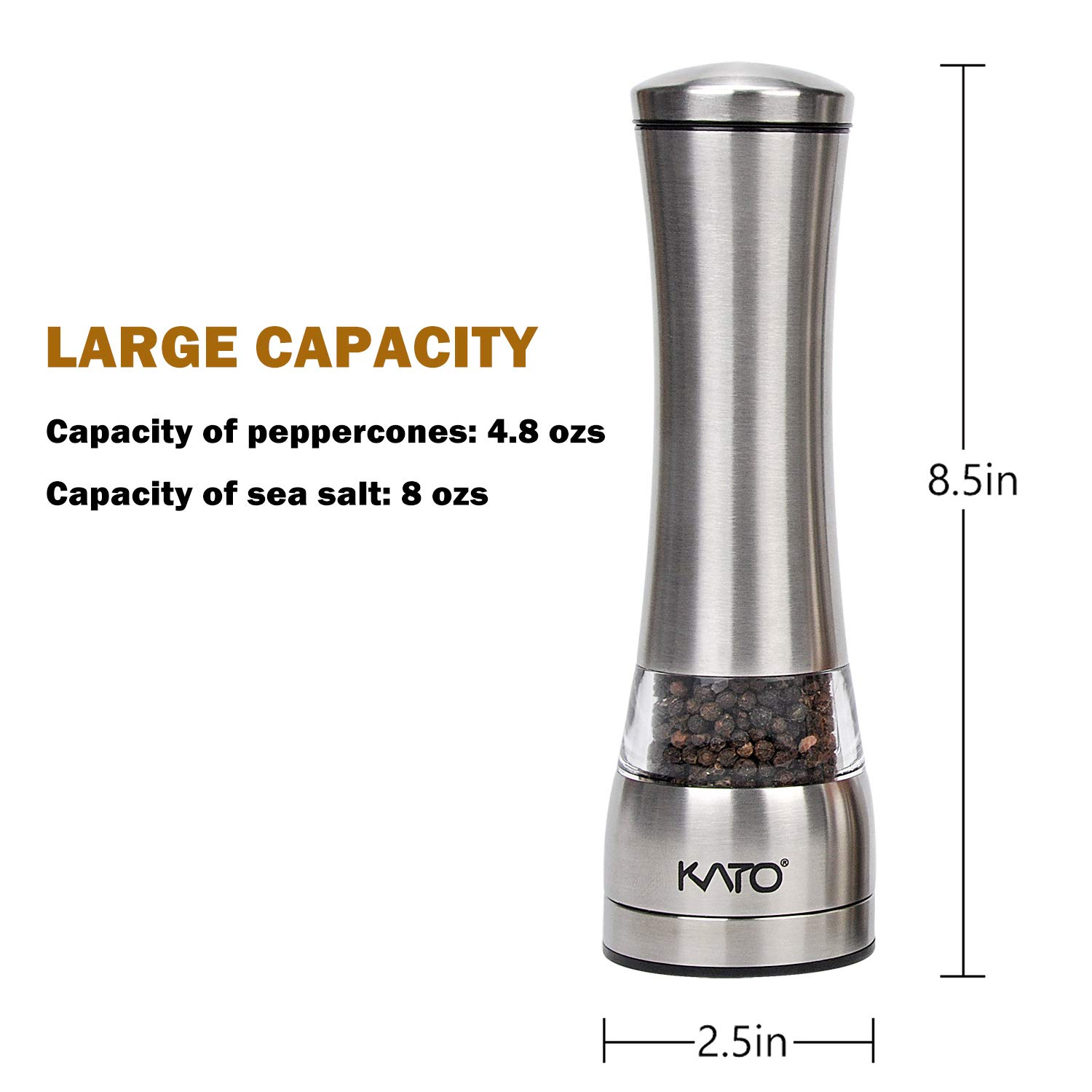 Kato Manual Stainless Steel Salt and Pepper Grinder Set, Best Ceramic Refillable Pepper Mills for Himalayan Salt, Pepper and Other Spices, 2 Pack