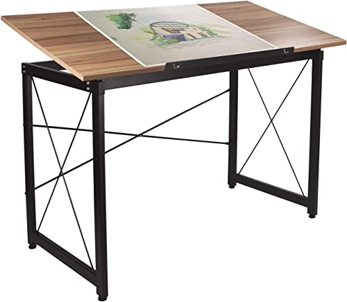 Tiltable Drawing Desk Drafting Table 47″x 24″ Wood Surface Craft Station Versatile