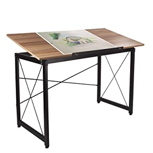 "H&A 47""x 24"" Tiltable Drawing Desk Drafting Table Wood Surface Craft Station Versatile for Painting Writing Studying and Reading (Maple)"