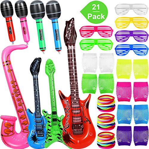 Inflatable Rock Star Toy Set, 21 Packs Inflatable Party Props, 2 PCS Inflatable Guitar, Green Bass, Pink Saxophone, 4 PCS Microphones, 6 Pairs Shutter Shading Glasses, 6 Pairs Fishnet Gloves, 36 PCS Silicone Bracelet ()