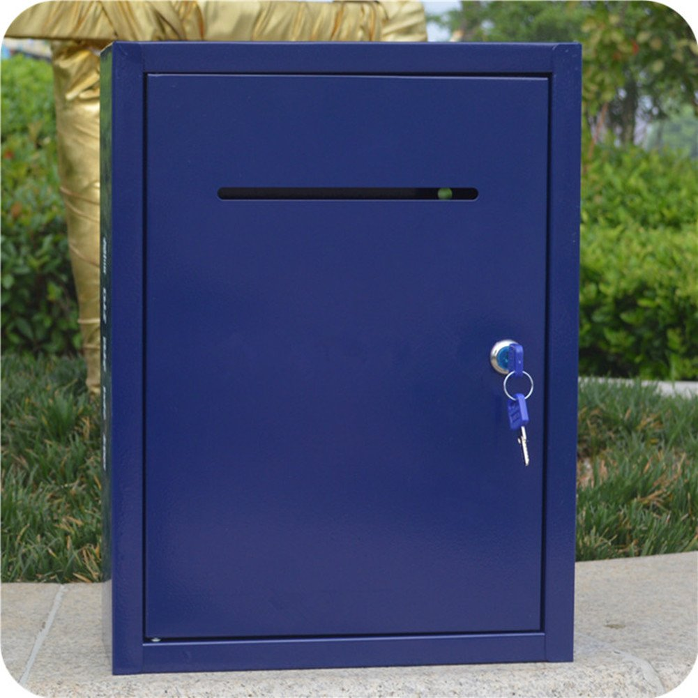 Big Blue mailbox Outdoor rainproof newspaper box Padded metal mailbox Newspaper delivery box with lock