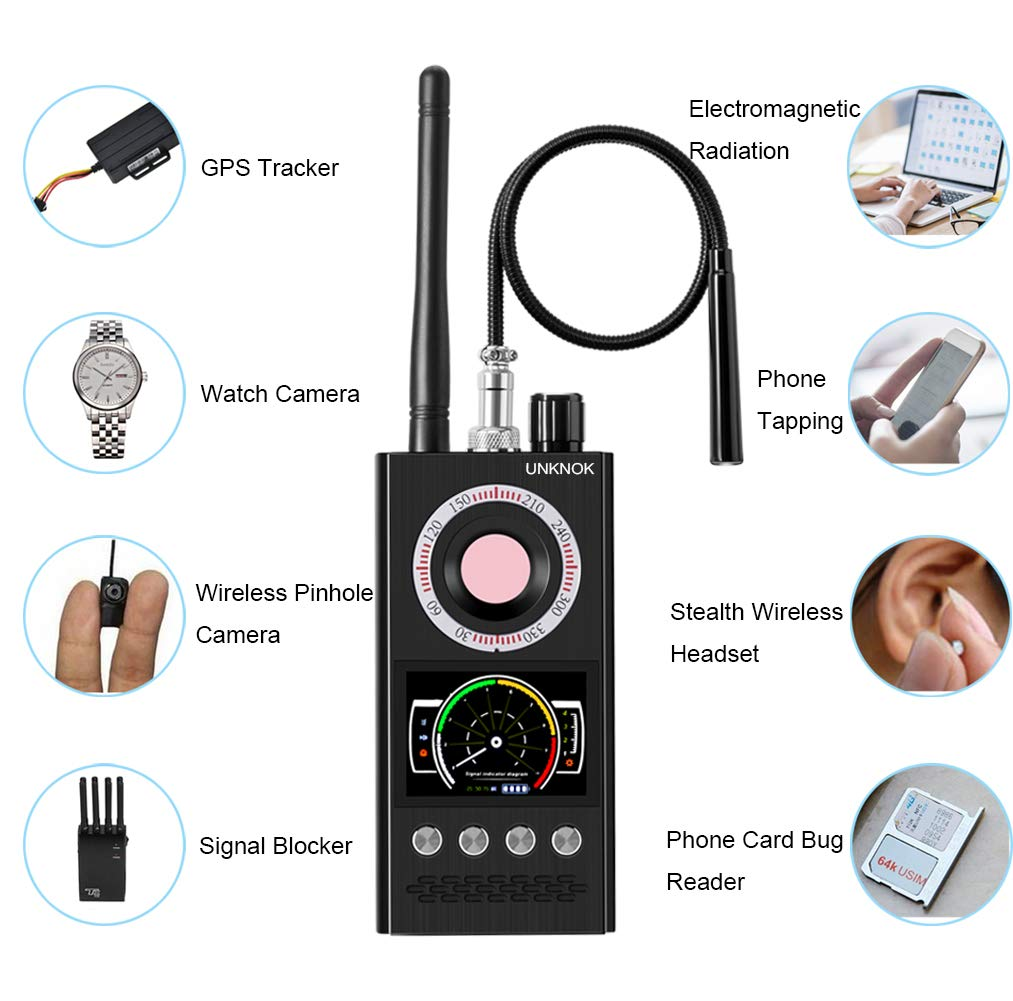 RF Signal Scanner Radio, UNKNOK Military-Quality Hidden Camera Detector Bug Detector [Ultra-high], Radio Frequency, GPS Detector Anti Spy Camera Finder Bug Sweaper Scanner Detection Device by UNKNOK