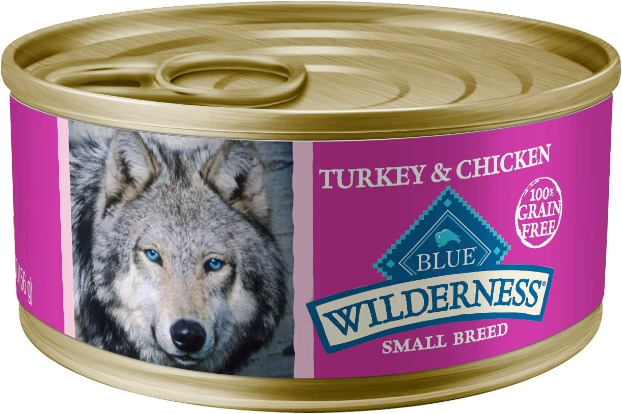 Blue Buffalo Wilderness High Protein Grain Free, Natural Adult Small Breed Wet Dog Food, Turkey Chicken Grill 5.5-oz can pack of 24