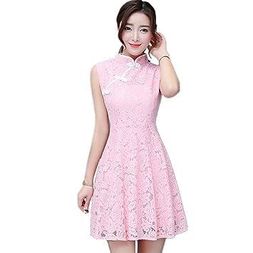 JUWOJIA Nuevo Estilo Chino De Verano Mujer Retro Sleeveless Slim Cheongsam Vestido Encaje Elegante Vestido Vintage