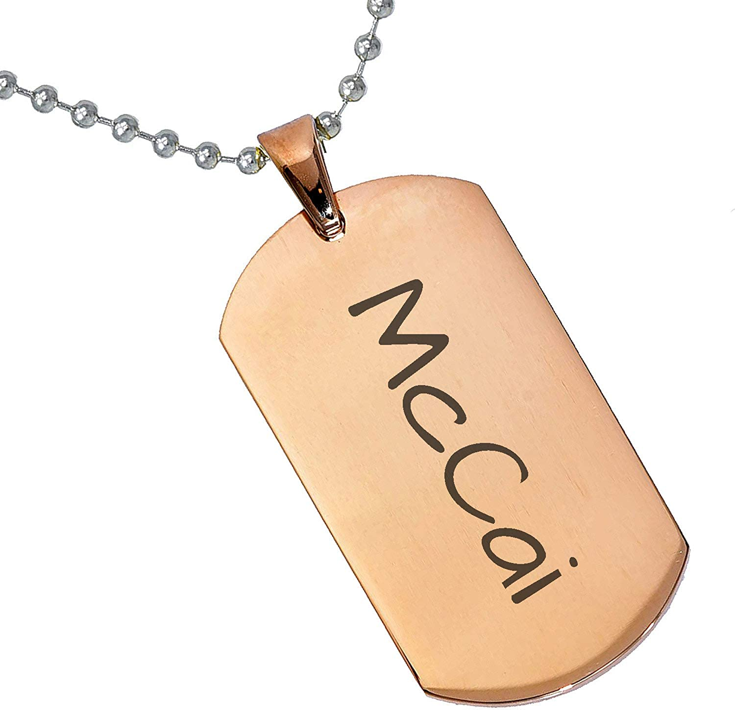 Stainless Steel Silver Gold Black Rose Gold Color Baby Name McCai Engraved Personalized Gifts For Son Daughter Boyfriend Girlfriend Initial Customizable Pendant Necklace Dog Tags 24 Ball Chain