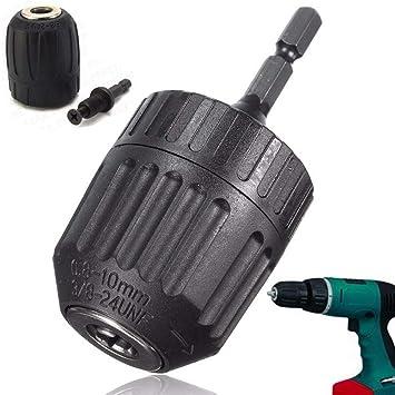 "0.8-10mm Keyless Drill Chuck Converter 3//8/"" 24UNF 1//4/"" Hex Shank SDS Adaptor"