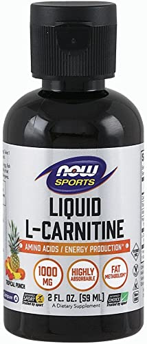 NOW Sports Nutrition, L-Carnitine Liquid 1000 mg, Highly Absorbable, Tropical Punch, 2-Ounce
