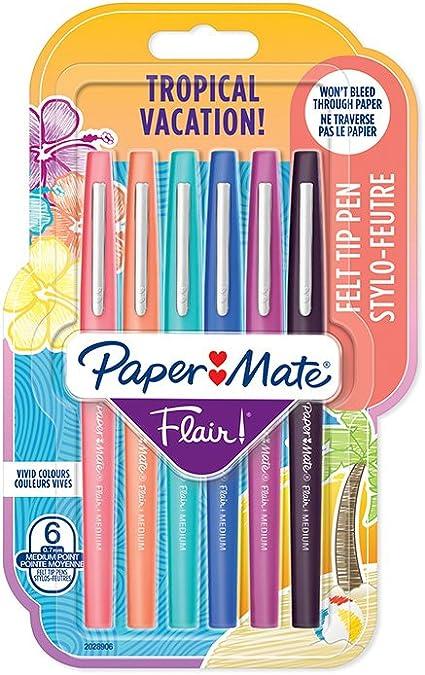 techniques modernes esthétique de luxe belle couleur Paper Mate 2028906 Flair Lot de 6 Stylos-feutres pointe moyenne 0,7 mm  Couleurs Tropical