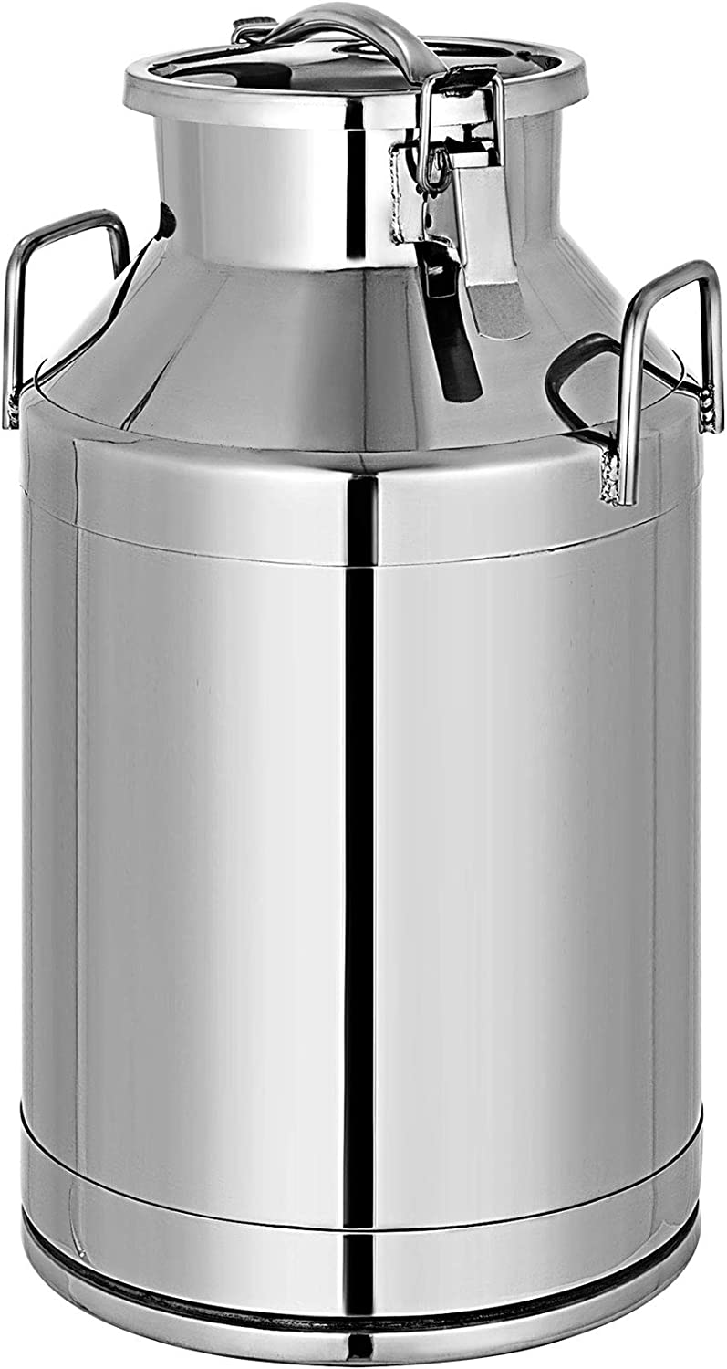 Mophorn 304 Stainless Steel Milk Can 50 Liter Milk Bucket Wine Pail Bucket 13.25 Gallon Milk Can Tote Jug with Sealed Lid Heavy Duty