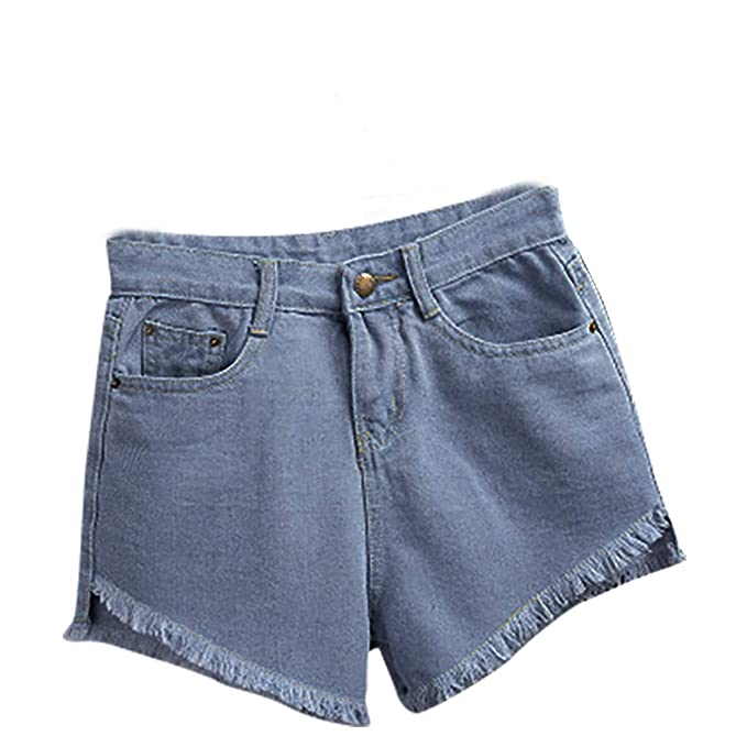 DressLksnf Pantalones Cortos de Mezclilla Cintura Alta para ...