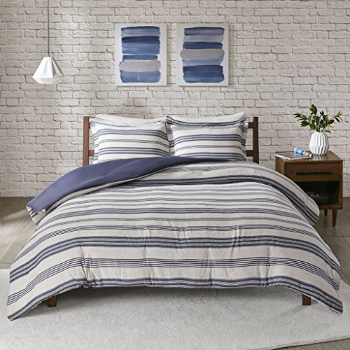 Urban Habitat Cole Stripe Print Ultra Soft Cotton Blend Jersey Knit Duvet Cover Set, Full/Queen, Navy (Striped Cover Duvet Brown And White)