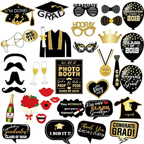 Graduation Photo Booth Props Class of 2019 Black and Gold Grad Decor Backdrop Posing Sign DIY Craft for Party Favors Supplies Decorations, 38PCS ()