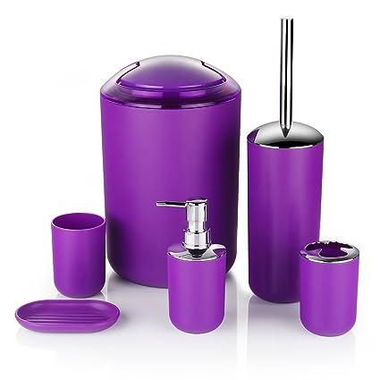 6 pcs plástico cuarto de baño juego de accesorios de baño accesorios de baño Set Loción botellas, soporte para cepillo de dientes, cepillo de dientes, ...