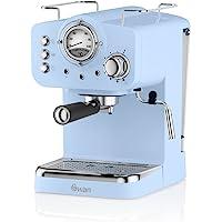 Swan SK22110BLN Retro Pomp Espresso Coffee Machine, 15 Bars of Pressure, blauw